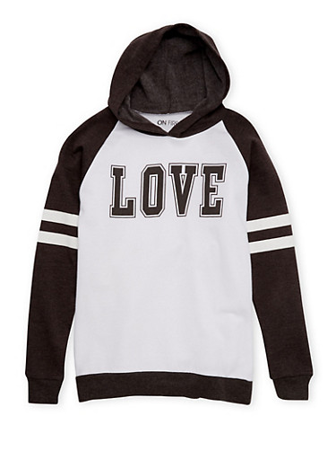 Girls 7-16 Hoodie with Love Print,CHARCOAL,large
