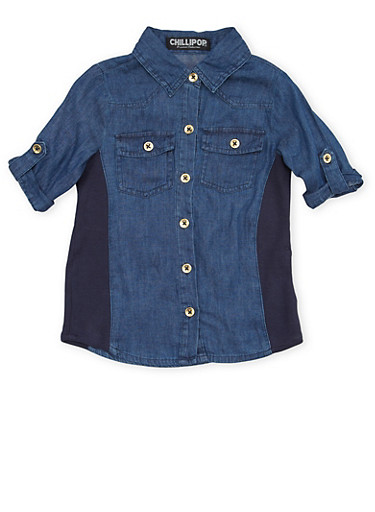 Girls 7-16 Denim Shirt with Rib Knit Sides,DENIM,large
