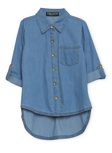 Girls 7-16 High Low Shirt in Denim,DENIM,large