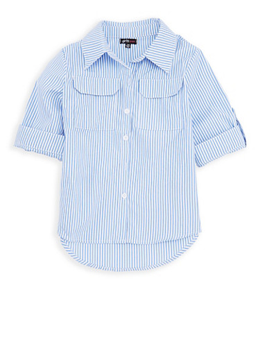 Girls 7-16 Striped Button Front Top,WHITE/BLUE,large