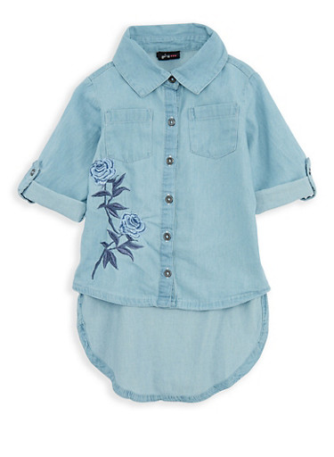 Girls 7-16 Floral Embroidered Denim High Low Shirt,LT DNM,large