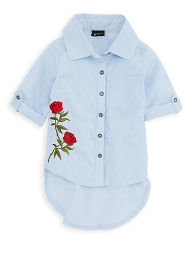 Girls 7-16 Rose Embroidered Striped Button Front Shirt,WHITE/BLUE,large