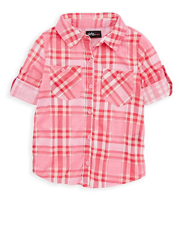 Girls 7-16 Plaid Button Front Shirt,MAUVE/RED,large