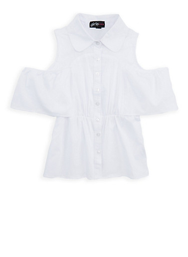 Girls 7-16 Ruffled Cold Shoulder Top,WHITE,large