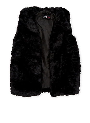 Girls 7-16 Faux Fur Vest,BLACK,large