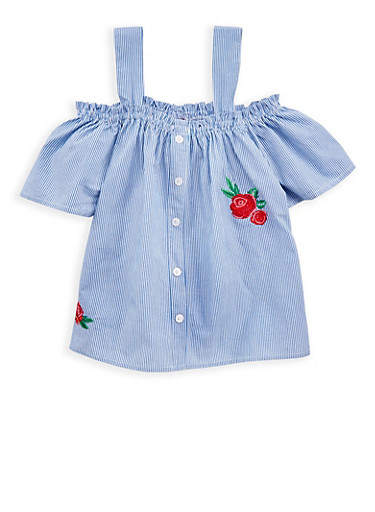 Girls 7-16 Striped Off the Shoulder Floral Embroidered Top,WHITE/BLUE,large