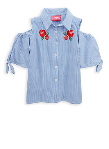 Girls 7-16 Striped Cold Shoulder Top with Floral Embroidery,WHITE/BLUE,large