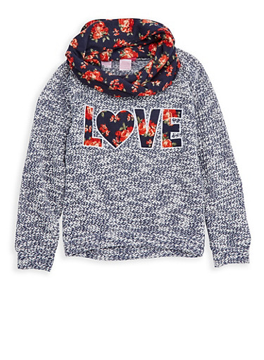 Girls 7-16 Love Graphic Sweater with Infinity Scarf,NAVY/WHT,large