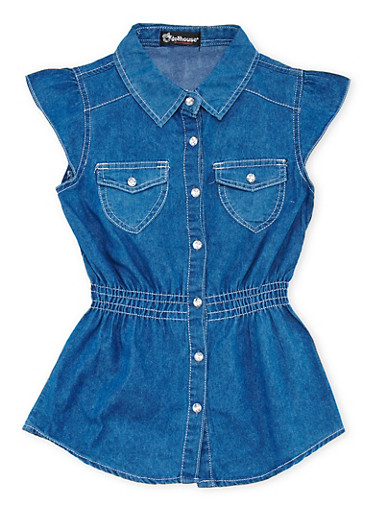 Girls 7-16 Denim Tunic Top with Crystal Buttons,DENIM,large