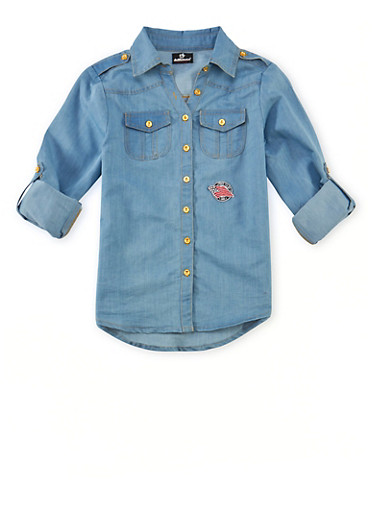 Girls 7-16 Denim Shirt with Button Front and Patch,DENIM,large