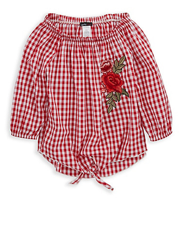 Girls 7-16 Gingham Off the Shoulder Tie Front Top,WHITE/RED,large