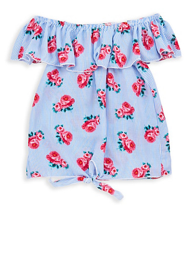 Girls 7-16 Floral Striped Off the Shoulder Tie Front Top,BABY BLUE,large