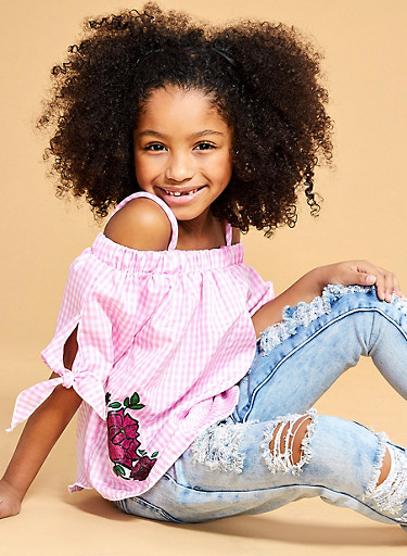 Girls 7-16 Gingham Off the Shoulder Top with Floral Patch,WHITE/PINK,large