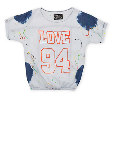 Girls 7-12 Cloud Wash Print Top with Love 94 Graphics,DENIM,large