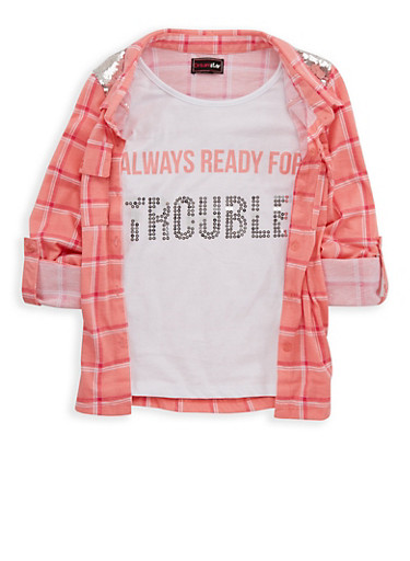 Girls 7-16 Sequin Plaid Button Front Top,CORAL,large
