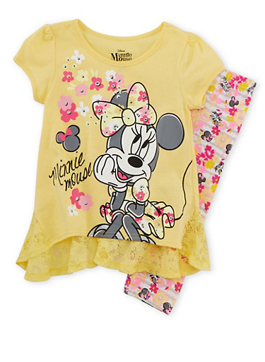 Girls 4-6x Top and Leggings with Minnie Mouse Flower Print,YELLOW,large