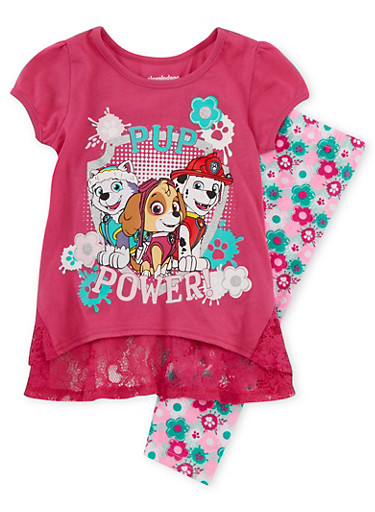 Girls 4-6x Paw Patrol Graphic Tee with Lace Trim and Leggings Set,FUCHSIA,large