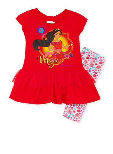 Girls 4-6x Elena of Avalor Tunic Top with Printed Leggings,RED,large