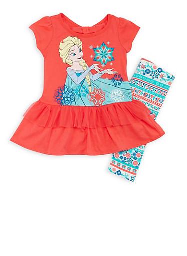 Girls 4-6x Frozen Elsa Tutu Top and Leggings with Snowflake Print,CORAL,large