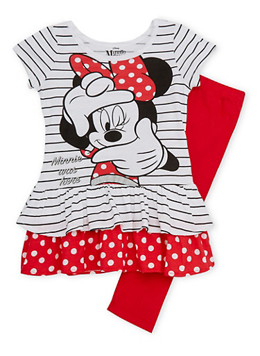 Girls 4-6x Striped Top and Leggings with Minnie was Here Print,MULTI COLOR,large