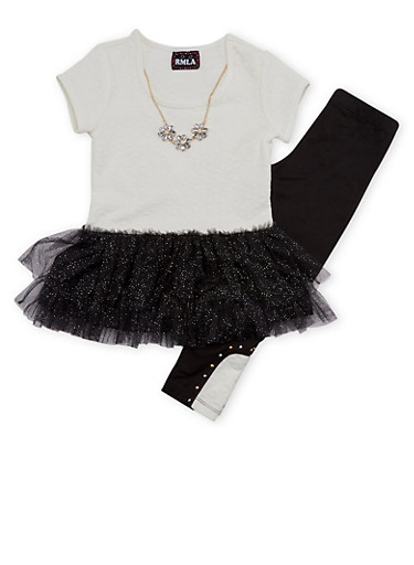 Girls 4-6x Tutu Top with Leggings and Necklace Set,IVORY,large