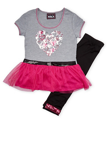 Girls 4-6x Sequined Tutu Top and Leggings Set,HEATHER,large