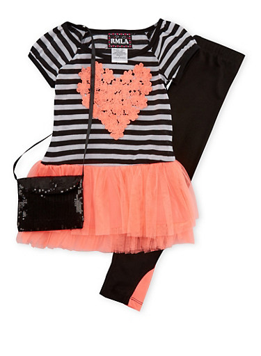 Girls 4-6x Tunic Top with Lace Heart and Paneled Leggings with Bag,CORAL,large