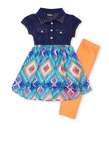 Girls 4-6x Knit and Chiffon Dress with Leggings Set,CORAL,large