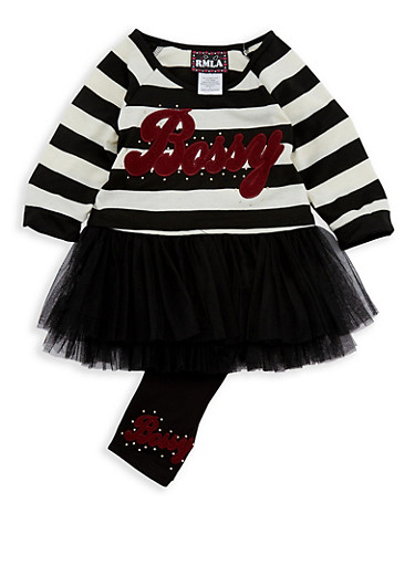 Girls 4-6x Striped Graphic Tulle Trim Top and Leggings,BLACK,large