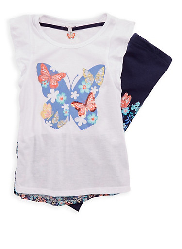 Girls 4-6x Butterfly Print Top and Leggings with Necklace,WHT/NAVY,large