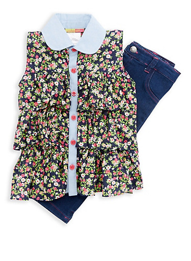 Girls 4-6x Floral Tiered Top with Jeggings,NAVY,large