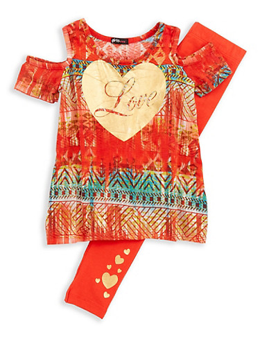 Girls 4-6x Love Graphic Top with Solid Leggings,RED MUTLI,large