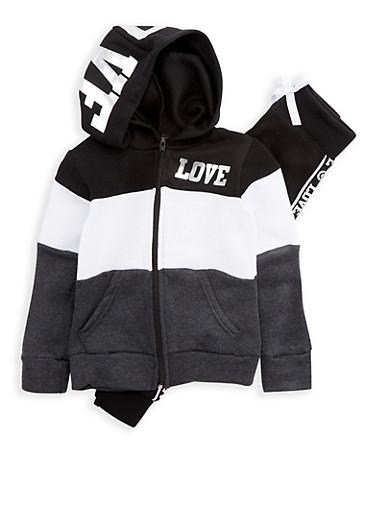 Girls 4-6x Love Graphic Sweatshirt and Sweatpants Set,BLACK/WHITE,large