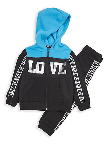 Girls 4-6x Color Block Love Graphic Sweatshirt and Joggers,BLK/TURQ,large
