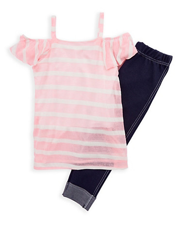 Girls 4-6x Striped Off the Shoulder Top and Jeggings Set,WHITE/PINK,large