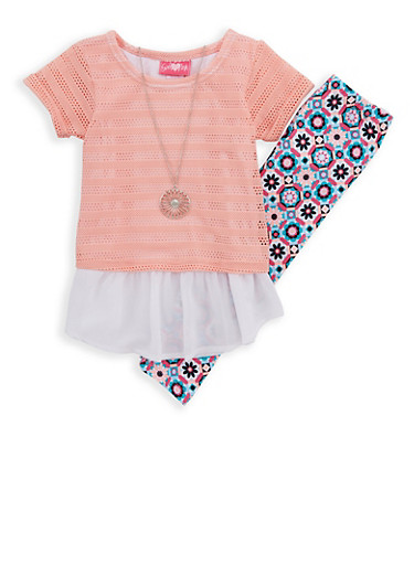 Girls 4-6x Layered Crochet Top and Printed Leggings,PINK,large