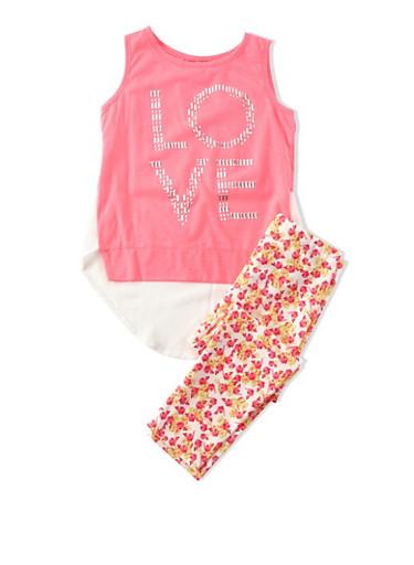 Girls 4-6x Sleeveless Stud Love Top and Floral Pattern Leggings Set,PINK,large