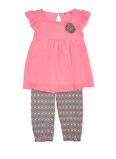 Girls 4-6x Tunic Top with Printed Joggers Set,PINK,large