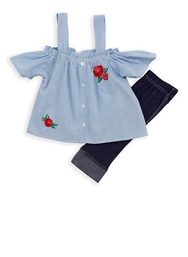 Girls 4-6x Striped Cold Shoulder Top with Denim Knit Leggings,WHT/LTBLUE,large