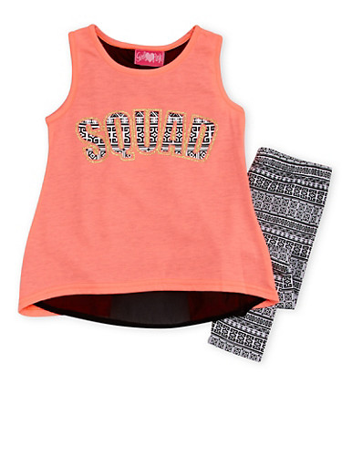 Girls 4-6x Squad Graphic Top with Printed Leggings Set,CORAL,large