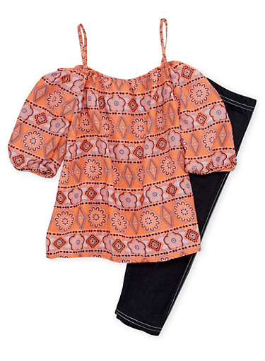 Girls 4-6x Printed Off the Shoulder Top and Leggings Set,PEACH,large