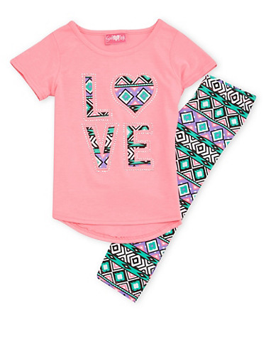 Girls 4-6x Love Graphic Top with Printed Leggings Set,PINK,large