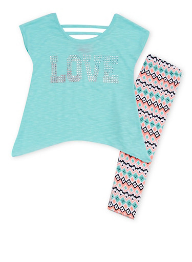 Girls 4-6x Asymmetrical Top with Sequins and Printed Leggings,AQUA,large