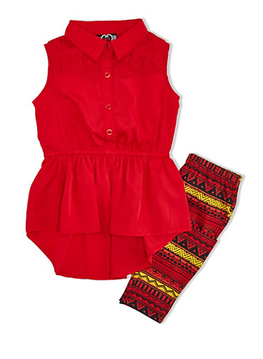 Girls 4-6x High-Low Top and Aztec Print Leggings Set,RED,large