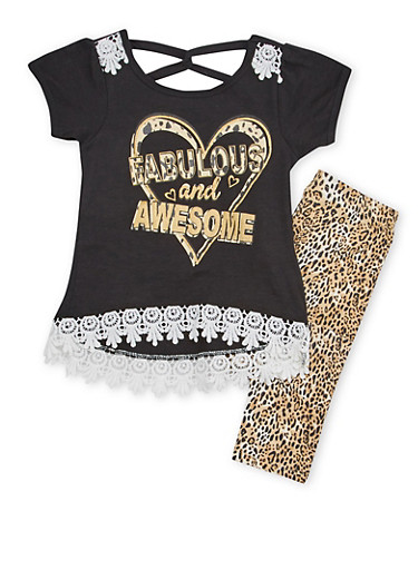 Girls 4-6x Graphic T Shirt Top with Leggings Set,BLACK,large