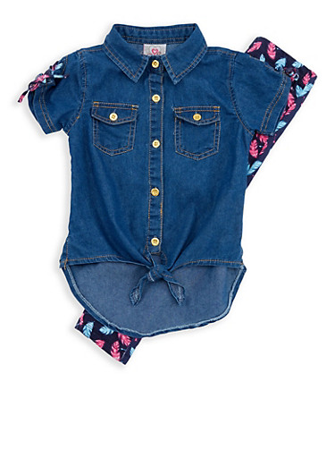 Girls 4-6x Denim Tie Front Top with Feather Print Leggings,LIGHT WASH,large