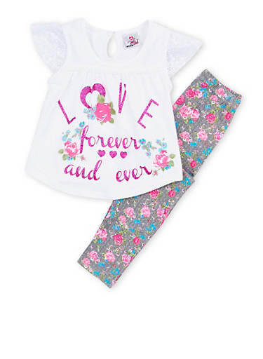 Girls 4-6x Love Graphic Top with Floral Leggings Set,WHITE,large