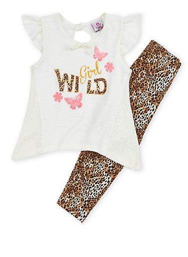Girl 4-6x Graphic Lace Trim Top with Leopard Leggings Set,IVORY,large