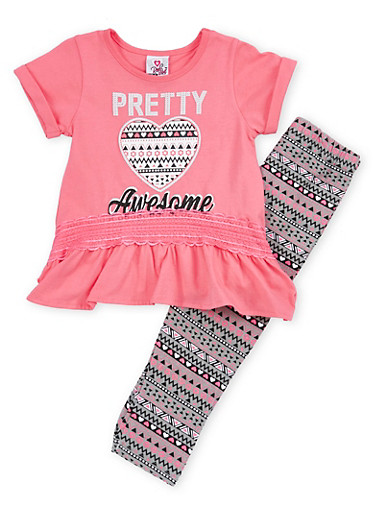 Girls 4-6x Graphic Peplum Top with Printed Leggings Set,PINK,large