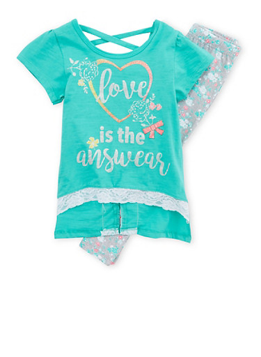 Girls 4-6x Love Graphic Top and Floral Leggings,GREEN,large